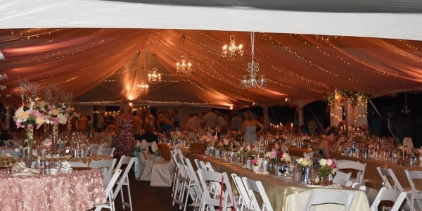 inside 40x120 decorated frame tent