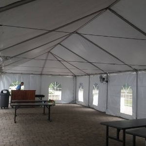 inside a 20 ft. x 60 ft. classic frame tent at the Wild Wood Ward Pavillion, Toledo Metro Parks