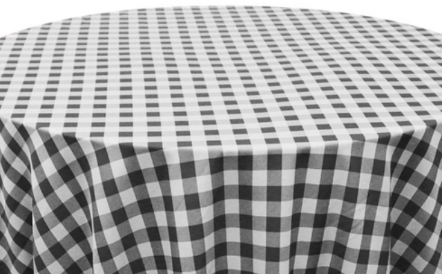 black and white checkered linen