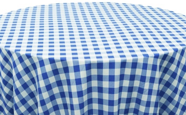 blue and white checkered linen