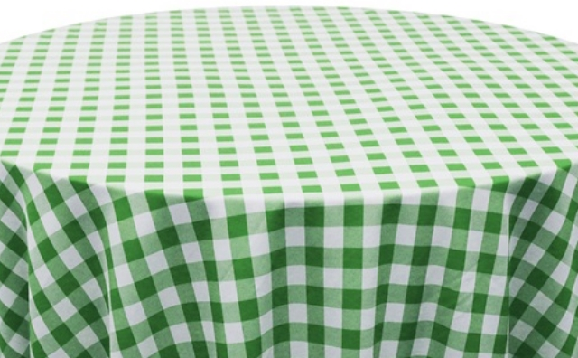 green and white checkered linen