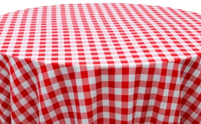 red and white checkered linen