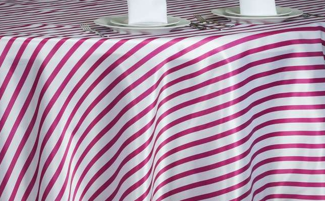 fushia and white stripes linen