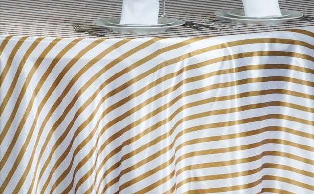 gold and white strips linen