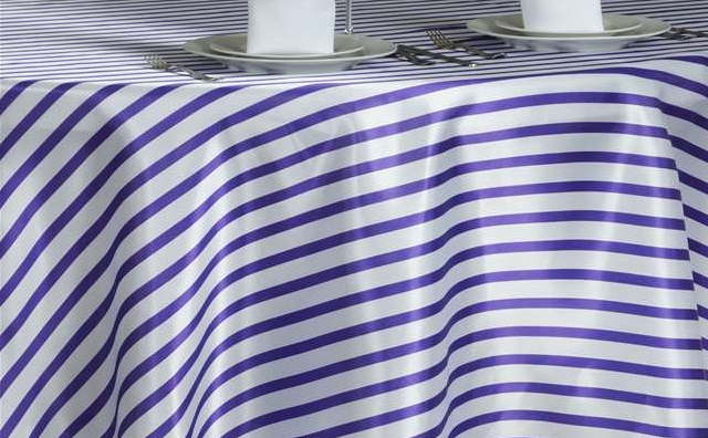 purple and white stripes linen