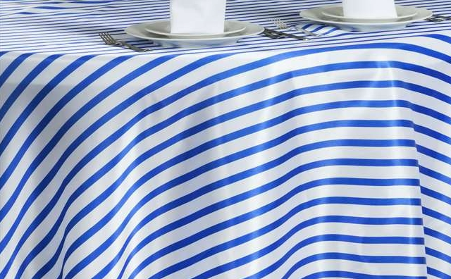 royal blue and white stripes linen