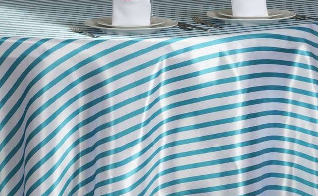 turquoise and white stripes linen