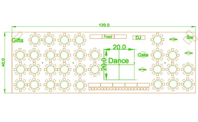 40x120 party tent layout