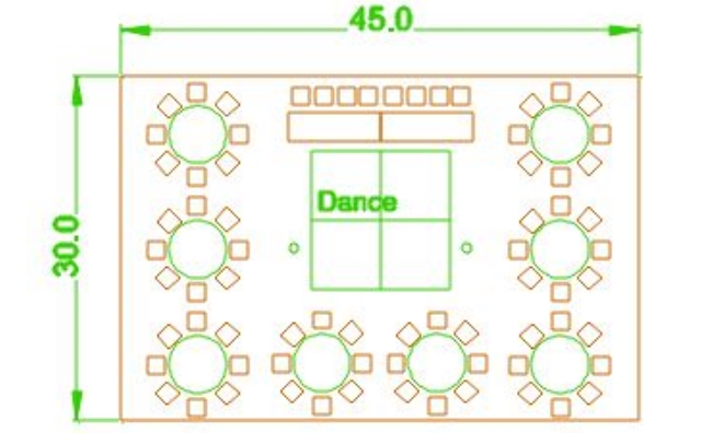 30x45 party tent layout