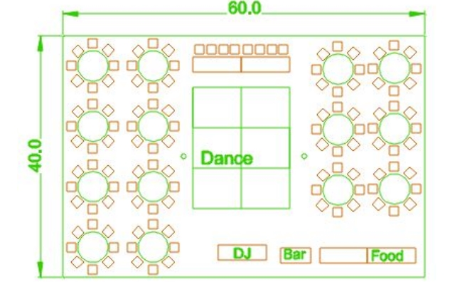 40x60 party tent layout