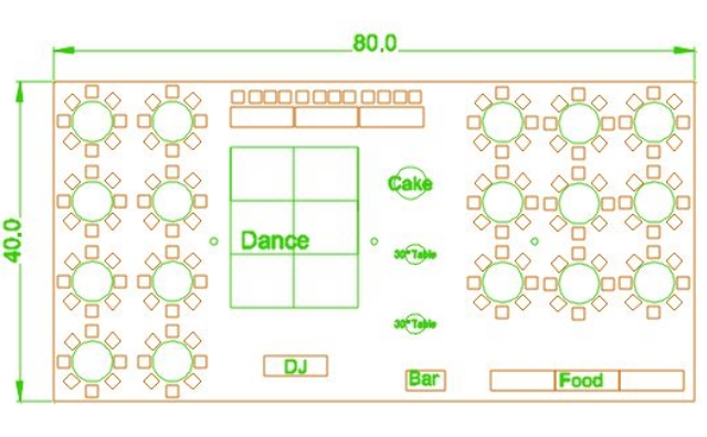 40x80 party tent layout