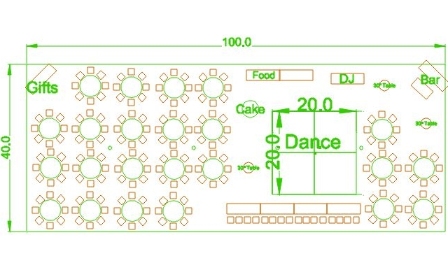 40x100 party tent layout