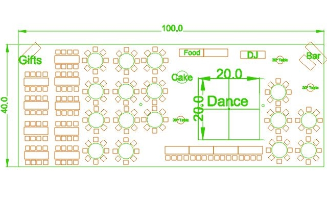 40x100 party tent layout option 2