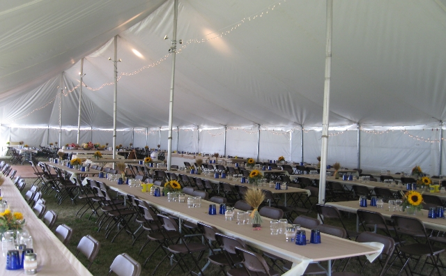 inside of a 40 ft. x 100 ft. Skyline Clasic Pole Tent