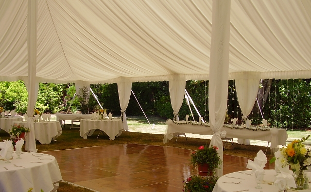 Pole Tent with draping