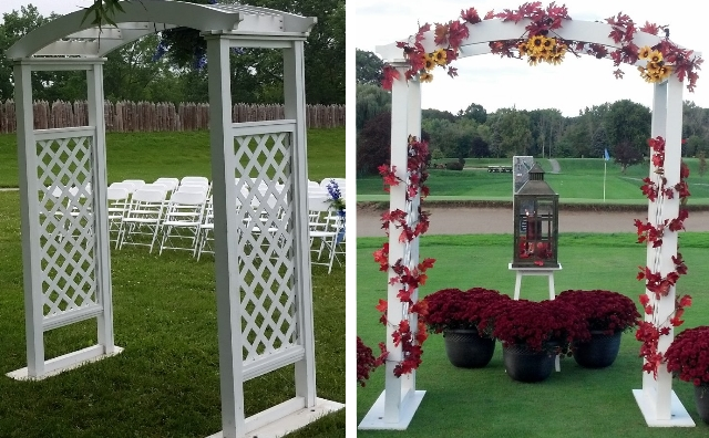 white wood wedding arch